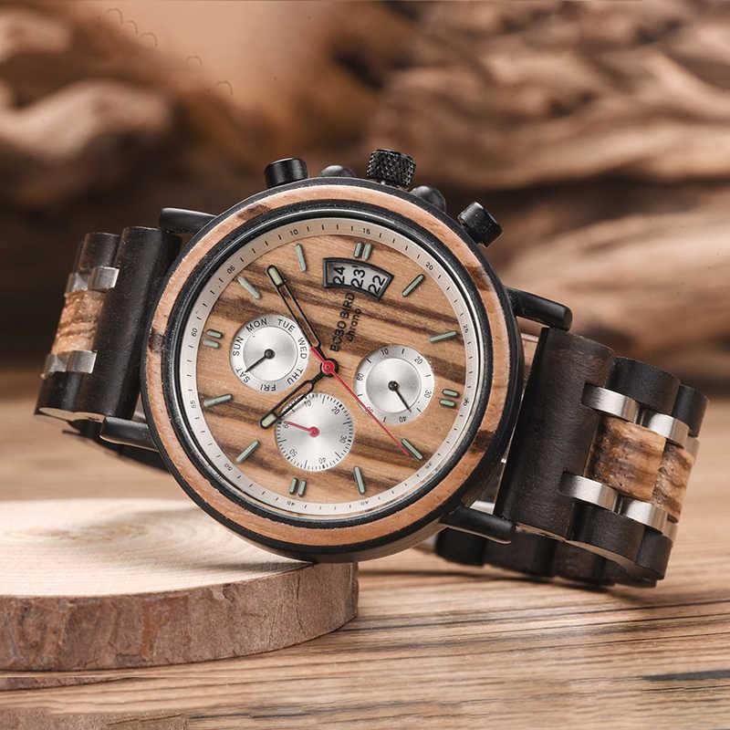 מקורי מותג בובו ציפור reloj hombre עץ פלדה בנד הכרונוגרף תאריך מראה זוהר מחטים עץ אריזת מתנה