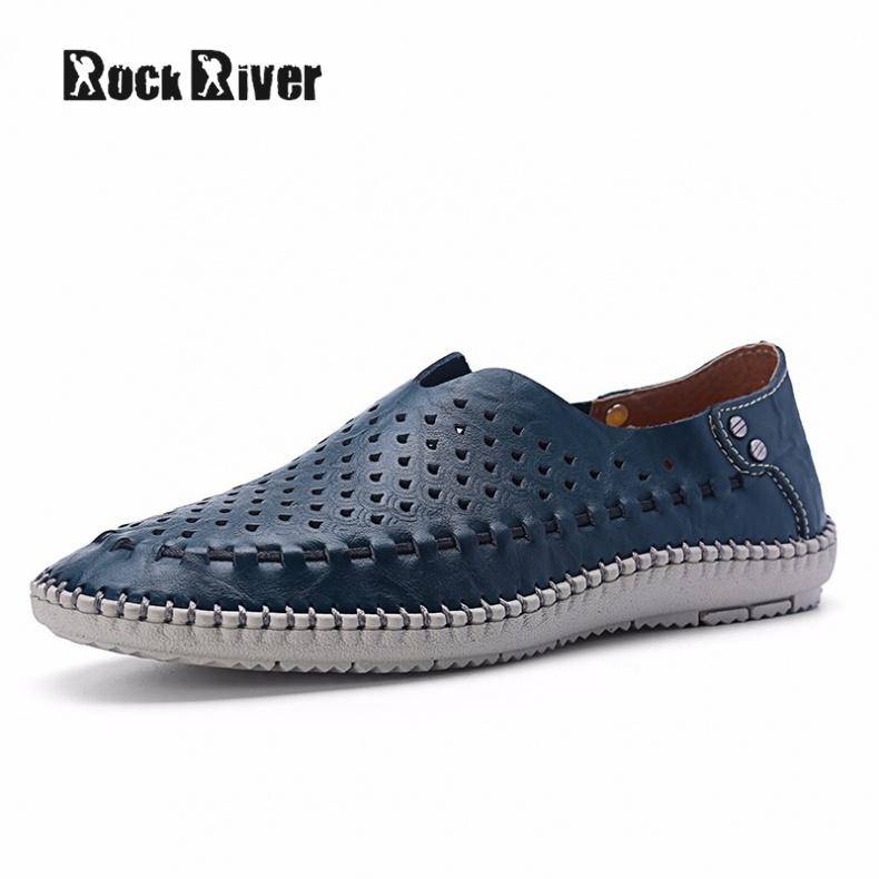 2017 Men Genuine Leather Shoes Slip On Handmade Cow Leather Shoes Breathable font b Loafers b