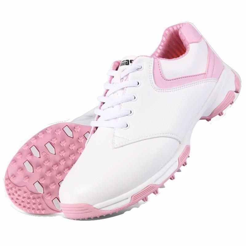 ФОТО 2016 women  golf shoes NEW Counter genuine PGM top qualtiy Golf Shoes waterproof womens  no spikes handmade Golf shoes