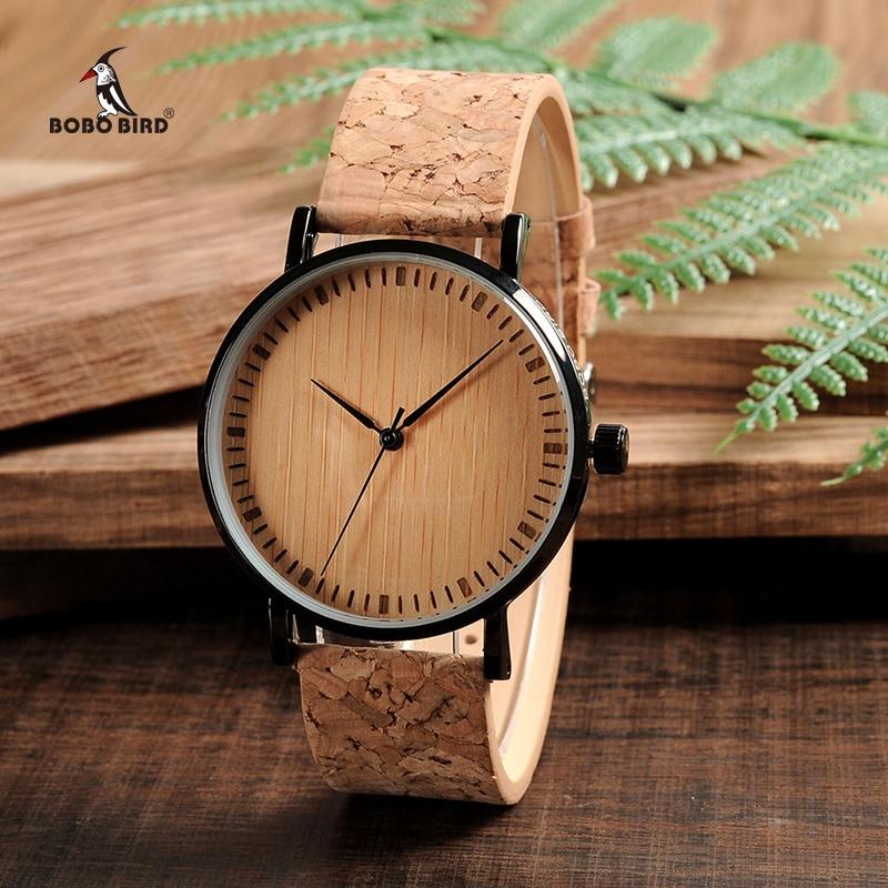 1d1204a172a BOBO PÁSSARO De Madeira Dial Relógios Relógio Relógios de Madeira Alça De  Cortiça para Homens e