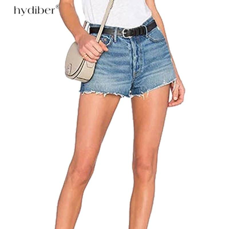 Denim Shorts 2018 Cotton High Waisted Fashion Button Pockets Regular Women Short