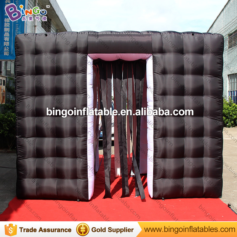 Portable 3X2.1X2.4M black inflatable photo booth with tassels curtains and two doors high quality cube tent for event 2018 NEW 4 3 2 5mh portable photo booth inflatable photo booth shell party used photo booth for sale photobooth case kiosk for event