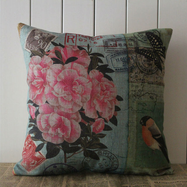 LINKWELL Brand 40x40cm Retro Pink Flower And Bird French Country Interesting French Country Decorative Pillows