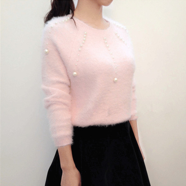 Women Sweaters and Pullovers 2017 Spring New Japanese Style Lolita Pearl Beading Long Sleeve Sweater Pink Knitwear Sueter