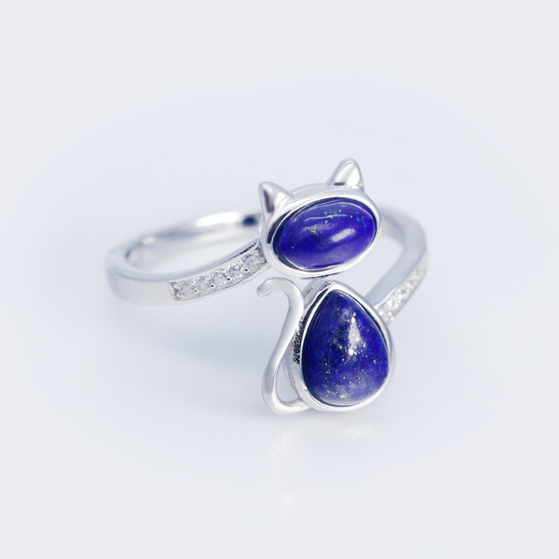MloveAcc Solid 925 Sterling Silver Cat Open Rings for Women Lady Gift Sterling Silver Lapis lazuli Stone Ring Fashion Jewelry