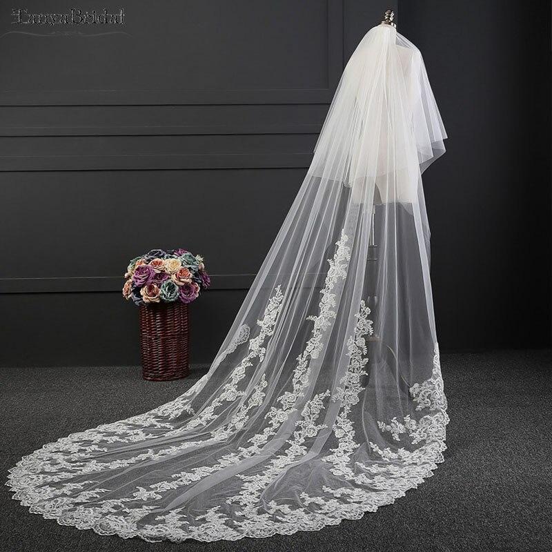 Voiles de mariage avec Appliques de dentelle 3 m voiles longs accessoires de mariée veu de noiva longo DV017