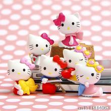 6Pcs/lot Anime Cartoon Blink HELLO KITTY Figures Kitty PVC Cut Action Figure Toys Model Dolls Great Gift 3.5cm