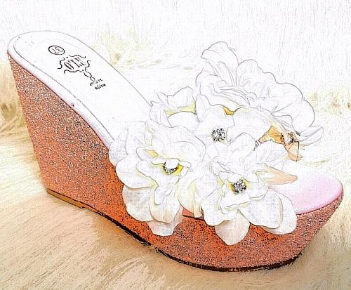 ФОТО Handmade sparksoso drill powder gem paillette flower transparent high-heeled wedges female slippers platform