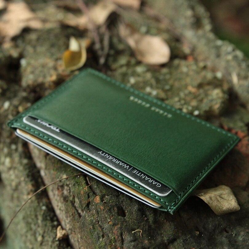Hiram Beron RFID Blockering Läder Kort Hållare Män Custom ID Mini - Plånböcker - Foto 4
