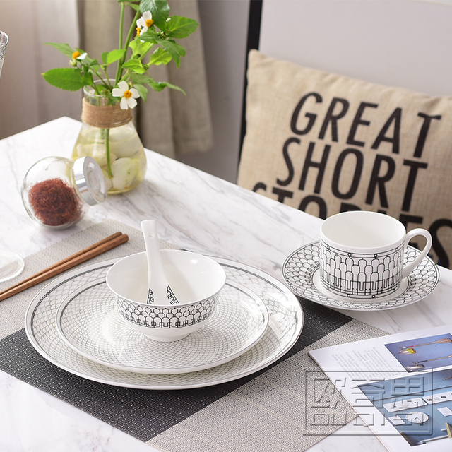 Ceramic Dinnerware Set Bone China Fashion Semicircular Scale Design 6pcs  Dinnerware Sets Striped Dinner Set Housewarming
