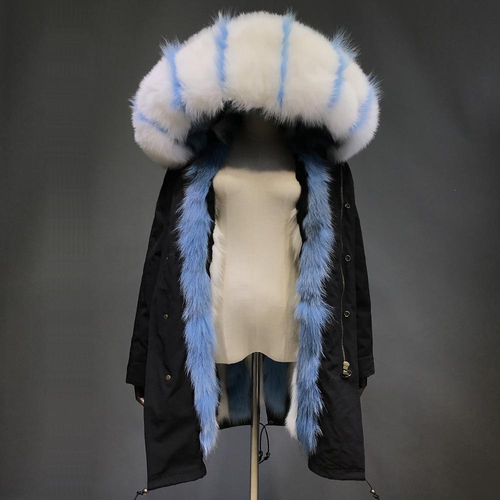 Bleu Doublure Renard Et Fourrure Naturel Blanc Maylofuer De Parkas Capot ParkaFemmes Amovible Véritable Col bI7gY6ymfv