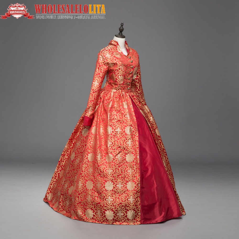 Queen Elizabeth I / Tudor Gothic Jacquard Dress Game of Thrones Ball Gown Theatrical Clothing