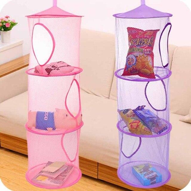 3 Shelf Hanging Storage Net Kids Toy Organizer Bag Bedroom Wall Door Closet  Organizers Basket For