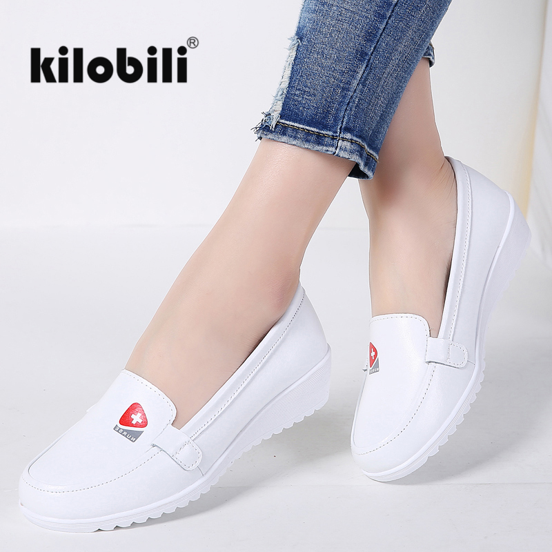 2018 Spring Girls Flats Footwear Leahter Nurse Footwear Shallow Gentle Rubber Informal Moccains Girls Slip on Boat Footwear Ballet Girls slip on boat sneakers, girls flats, slip on,Low-cost slip...