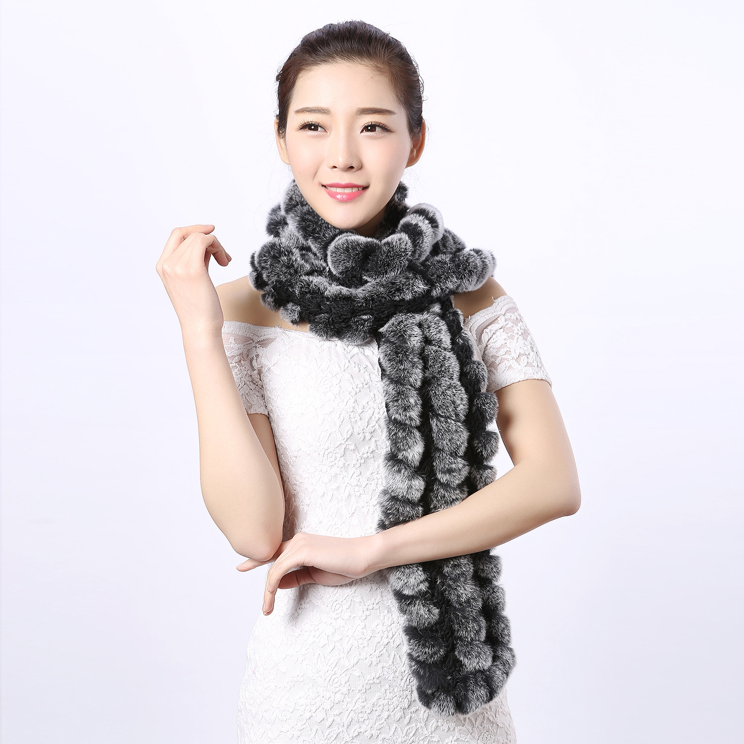 17 new leather Rex Rabbit scarf woven grass big lady ...