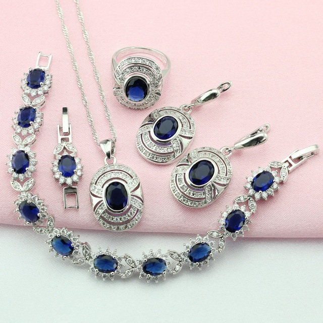 ASHLEY Fashion Blue Stone Silver Color Jewelry Sets For Women Ornamentation Earring/Pendant/Necklace/Ring/Bracelet Free Gift Box