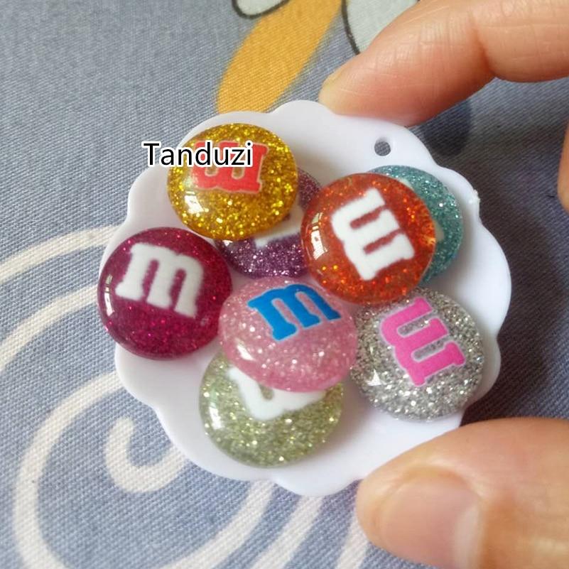 Tanduzi 1000pcs Wholesale Cute Glitter Resin M Beans Kawaii Flatback Resin Cabochons Cream M Chocolate Bean