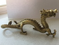 Chinese Brass Carved luck Dragon Statue/Chinese dragon Sculpture Free shipping