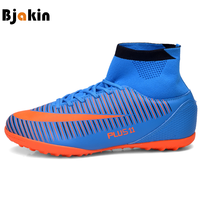 Bjakin Men's Soccer Cleats Football Trainers Youth High Top TF Turf Football Shoes High Ankle Plus Size 35-46