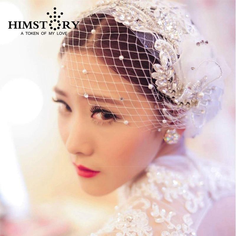 New Arrival Luxury Handmade Crystal Pearl Lace Flower Bridal Head Rhinestone Wedding font b Hair b