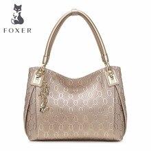 FOXER Brand Design Women Split Leather Shoulder bag Women's Leather Handbag Female Bag Lady Chain lines Shoulder bags