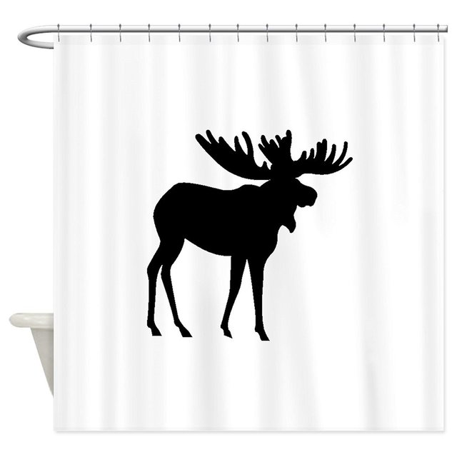 Memory Home Moose Silhouette Pattern Waterproof Fabric Polyester Bathroom Shower Curtain White Animal Shadow Bath Curtains