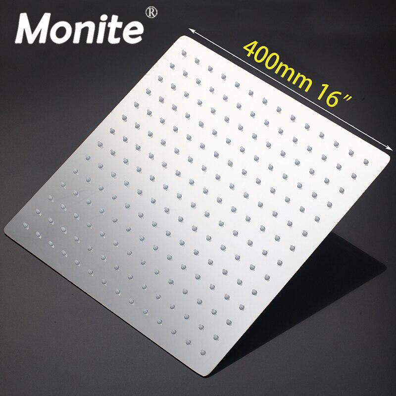 LED 16 Inch Rain Shower Head LED Stainless Steel square Shower Head Bathroom Ultra-thin Shower Head