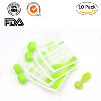 10pcs Baby Food Pouch Reusable Feeding Food Squeeze Bag With Spoon Spout Pouch For Complementary Food Grade Plastic Storage Box