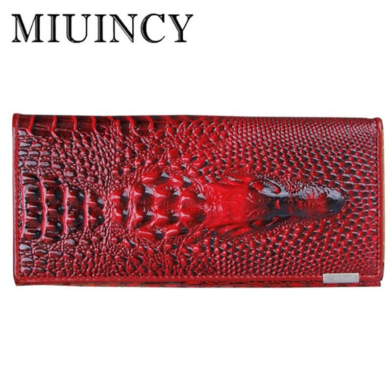 MIUINCY Leather 3D Embossing Alligator Ladies Crocodile Long Clutch Wallets Women Wallet Female Coin Purses Holders