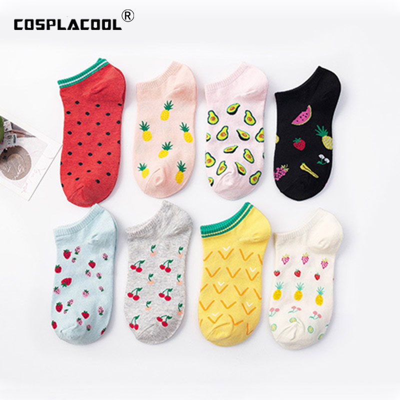 Korean Funny Socks Women Creative Avocado Cherry Watermelon Calcetines Skarpetki Meias Harajuku Ankle Socks Hipster Skarpety Sox
