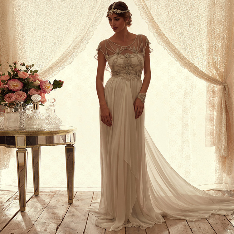 Robe De Mariage New Chiffon Crystal Hat Sleeve A Line Ivory Boho Beach Wedding Dress Luxury Bridal Gown Trouwjurken Hochzeit