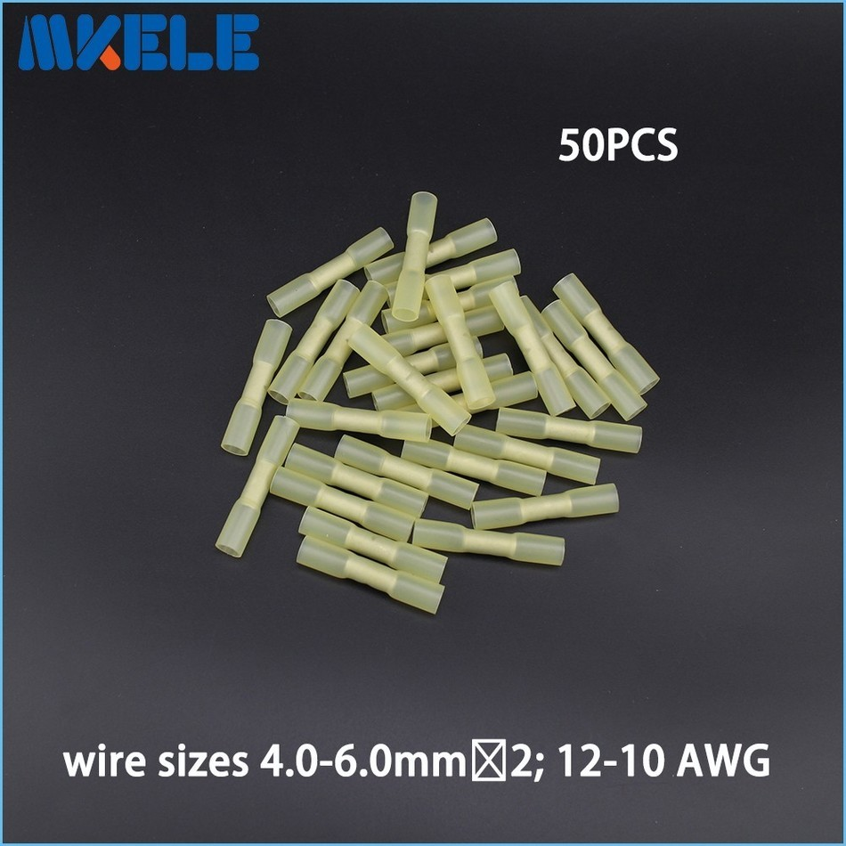 New Arrivals 50pcs Insulated Heat Shrink Butt Connectors Wire Electrical Crimp Terminals 12-10AWG Kit China 500 pcs blue heat shrink 16 14 ga butt wire connectors ring terminal free shiping