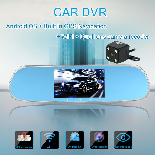 "Universal 5"" 1080P HD Android Touch Screen Car Rearview Mirror DVR GPS Navigation Car-detector WIFI 2 Lens Car Rearview Camera"