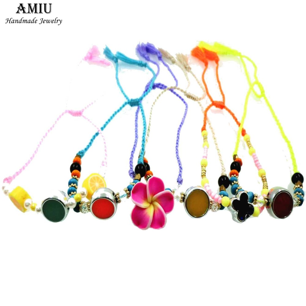 AMIU Přátelský náramek Hippy Květinové Rokajl Korálky Křišťál Křížový střapec Závěsné Náramky pro ženy Muži Balení Sady 6ks