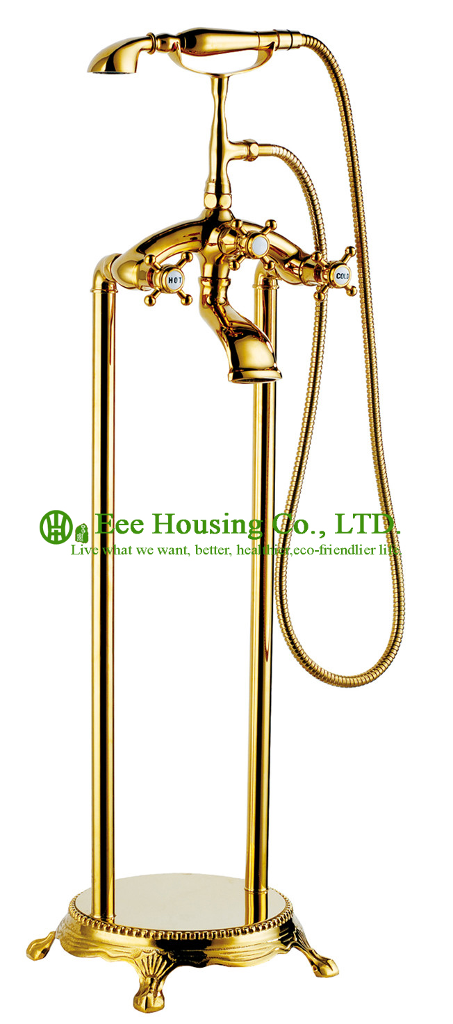Free Shipping Brass Floor-standing Shower Bath Mixer,bathtub Faucet,gold-titanium Finished,shower System,bathtub Accessories