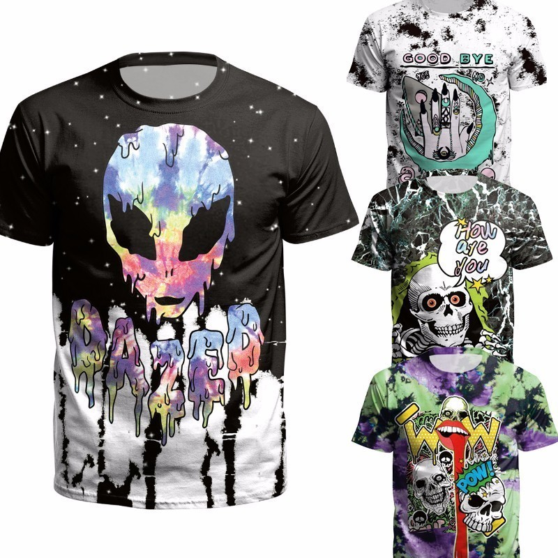 Skull 3d   T     Shirt   Punk alien Men/women Summer Tees death evil Hip Hop funny satanism grim reaper   T  -  shirt   supernatura tshirt