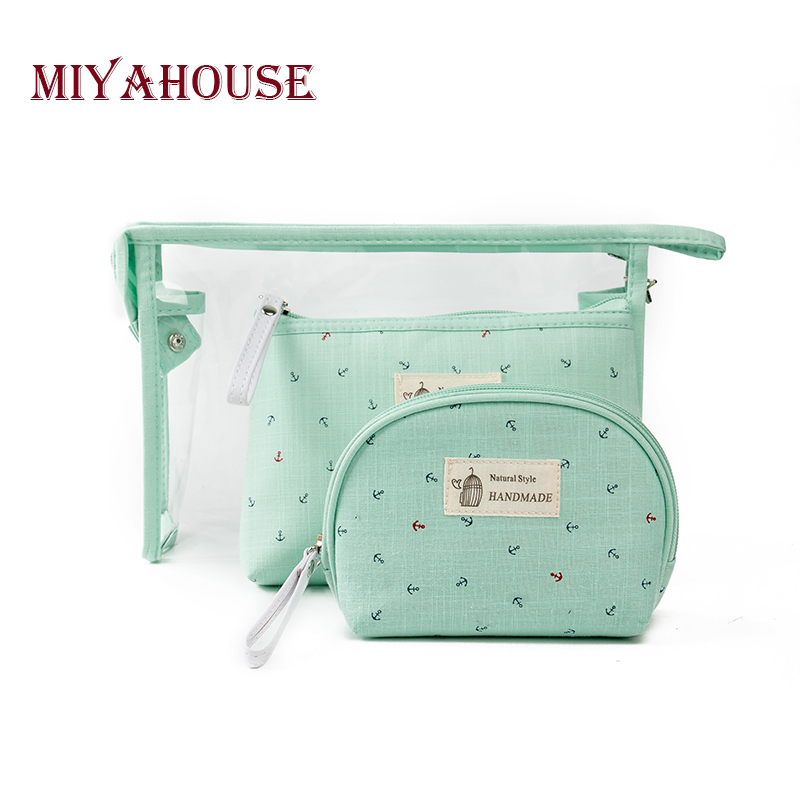 Miyahouse Hot Sale 3 pcs/set Make Up Bags Women Jelly Cosmetic Bag Fashion Waterproof Transparent Makeup Pouch Beauty Bags image