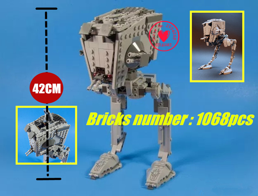 New 1068pcs Out of print empire AT ST star wars fit legoings starwars figure Building Block Bricks diy Toys Boys 10174 kid gift майка print bar starwars