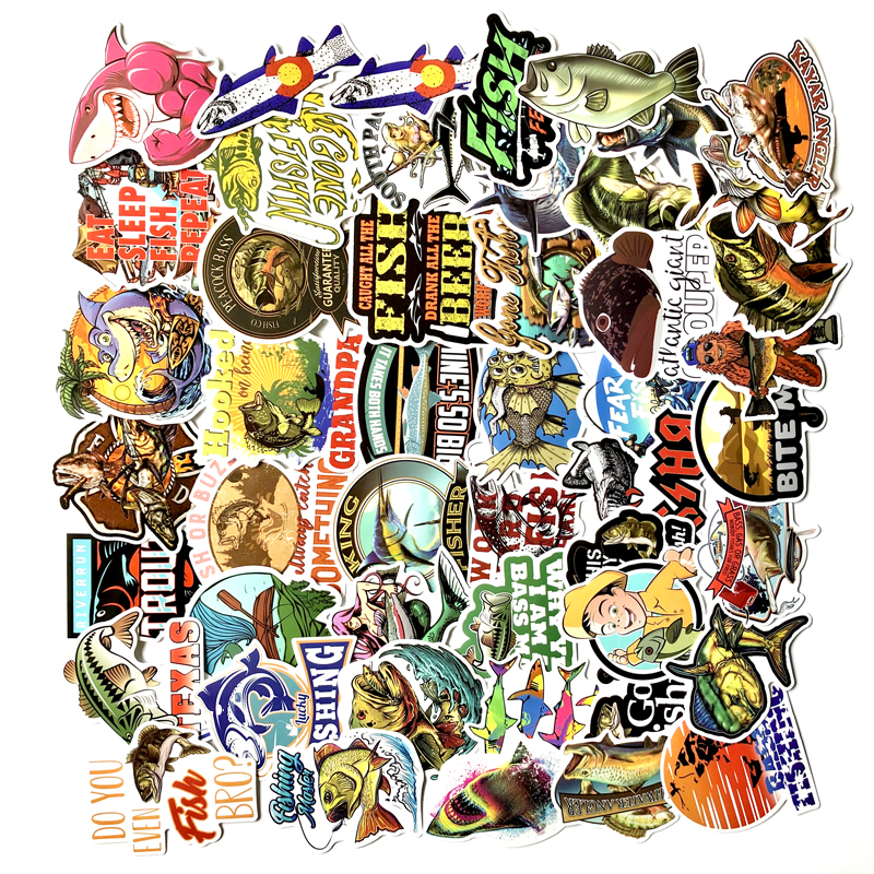 Image 5 - 50/65PCS Funny Fisherman Go Fishing stickers For laptop suitcase Freezer Vinyl Car styling DIY decoration Decals Car Sticker-in Car Stickers from Automobiles & Motorcycles
