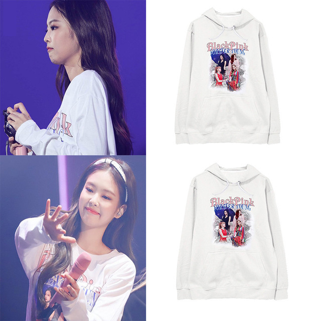Kpop BLACKPINK JENNIE white Harajuku Hoodies Women Popular pullovers 2019 Hip Hop Sweatshirt Winter Female Fans Casual Clothes