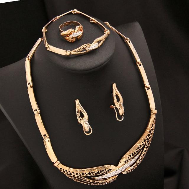 Zoshi dubai conjuntos de jóias de cristal colar pulseira brincos anel festa de casamento nigeriano moda feminina conjunto de jóias 5