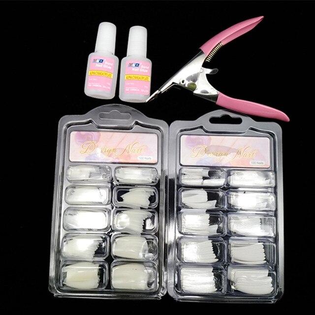 100 Pcs Natural 100pcs White False Acrylic Nail Kit French Tips Art Glue