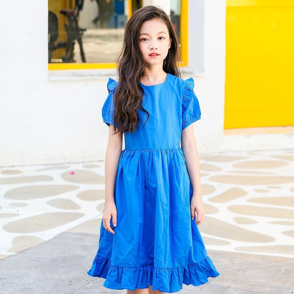 Long Teen Girls Dress 2018 New With String Ruffles Cotton Princess Kids Dresses Summer For 4-16Y Casual Baby Girls Clothing ems dhl free shipping new v neck baby girls kids sequin dress tulle dress with ruffles 5 colors princess dress casual wear