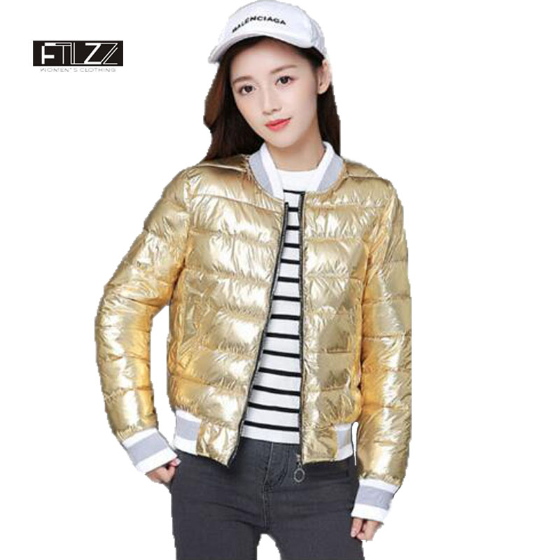 Nuevo invierno mujeres Chaqueta de algodón acolchado moda metal plata de oro corto feminino mujer niñas bombardero parkas abrigos