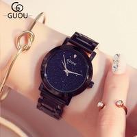 Luxury Brand Women Watches With Crystals Fashion Starry Sky Black Ladies Casual Wrist Watch Elegant Dress Female Clock Hodinky
