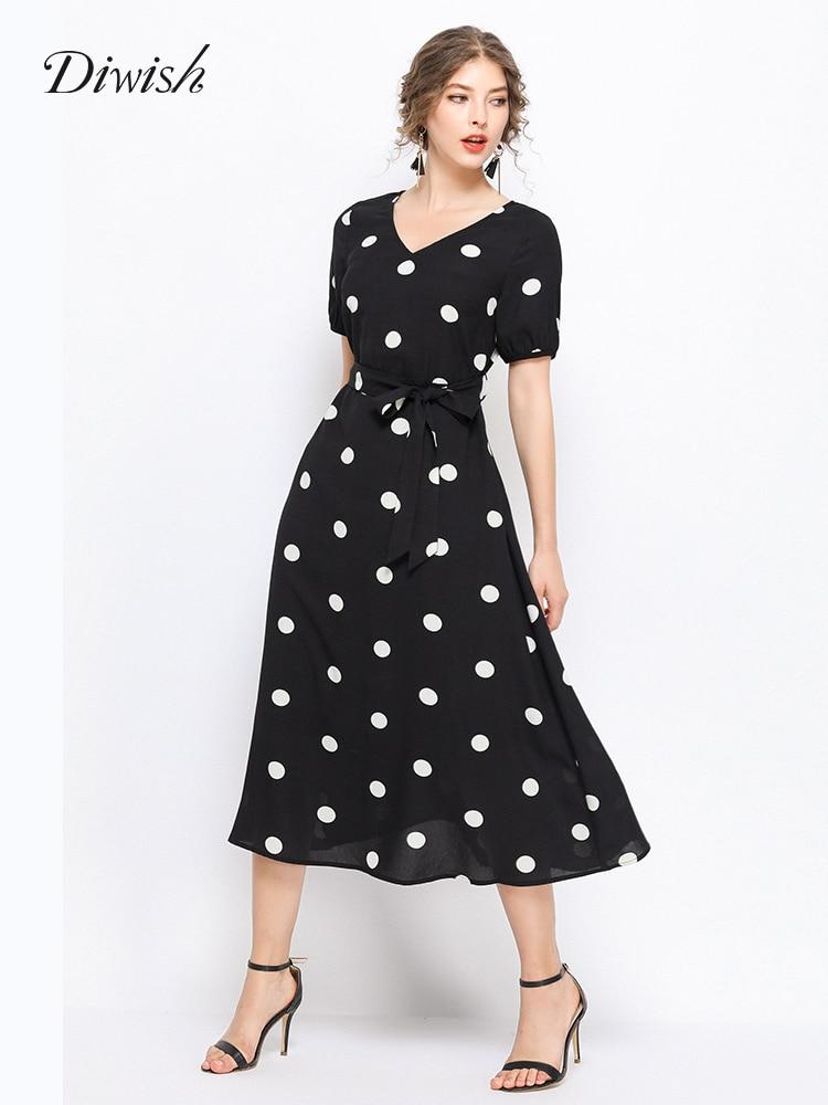 Diwish femmes Vintage à pois noir robe grande taille 5XL 2019 été Style français à manches courtes col en v ceinture élégante robe mi-longue