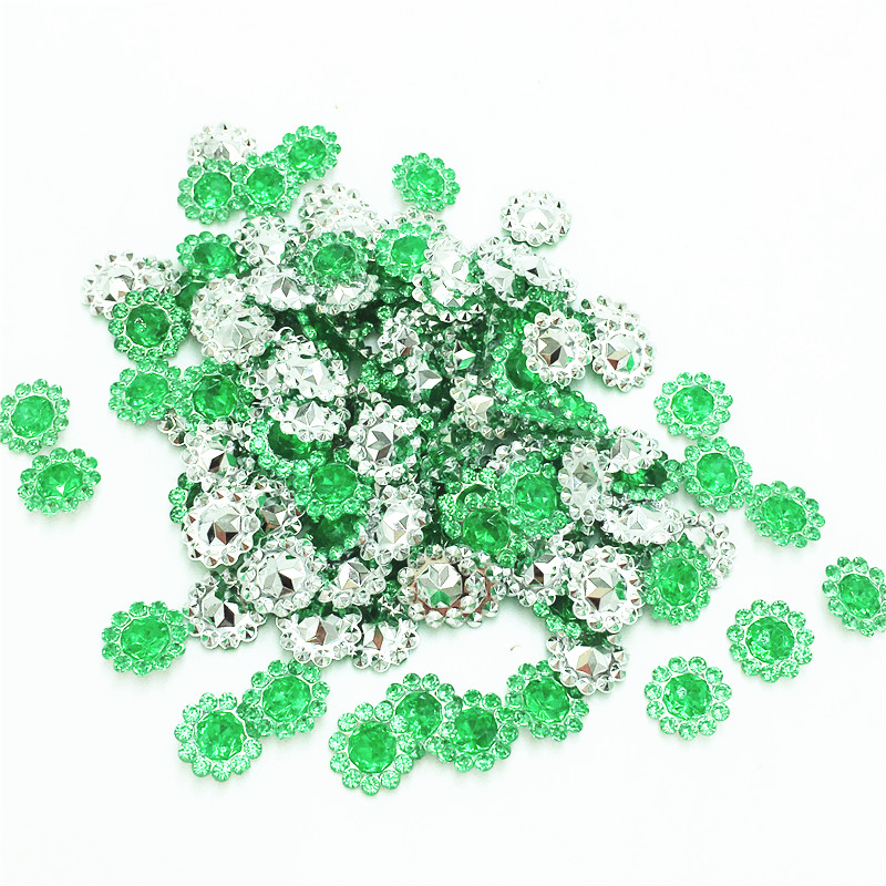 200 шт. 11 мм зеленый цвет кристалл акриловые горный хрусталь Круглый подсолнухи Аппликации/Свадьба Ремесло украшения