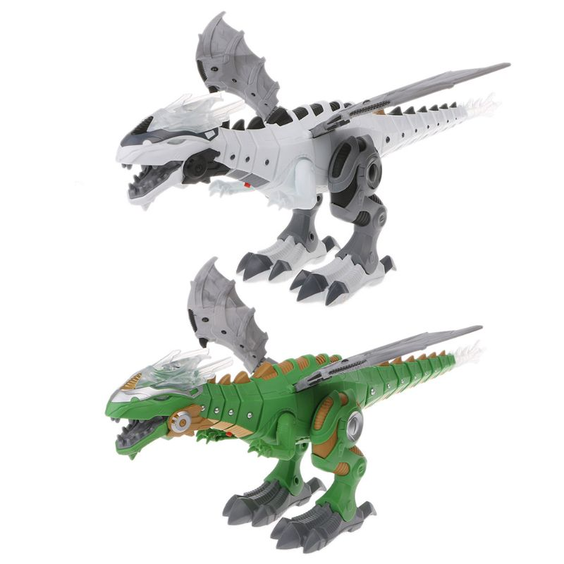 Amazing Spray Electric Dinosaur Toy Walking Spray LED Light Up Sound Dinosaur Toy Dinosaur Robot Model Boy Toys