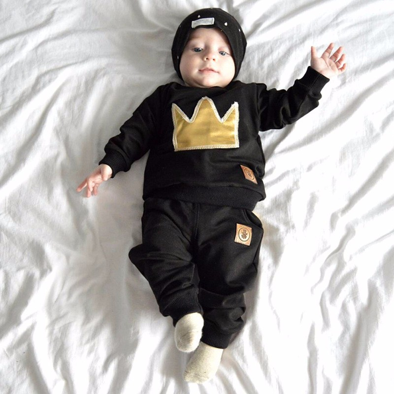New 2016 The spring and autumn period and the baby suit Crown black cotton embroidery two