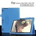 Para lenovo tab2 10.1 polegada x30f/a10-30 tablet caso litchi pu leather cobrir Para Tab2 A10-70F/L Fino escudo Protetor + Filme + caneta